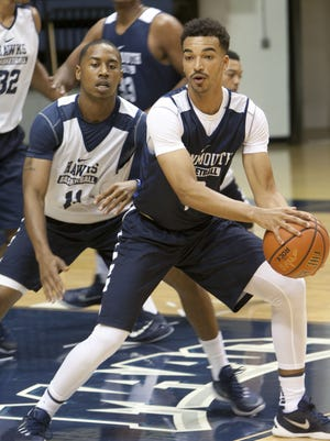 Monmouth University men's basketball practice. #10 Micah Seaborn (right) guarded by #11 Je'lon Hornbeak (left)  -October 5, 2015-West Long Branch, NJ.-Staff photographer/Bob Bielk/Asbury Park Press