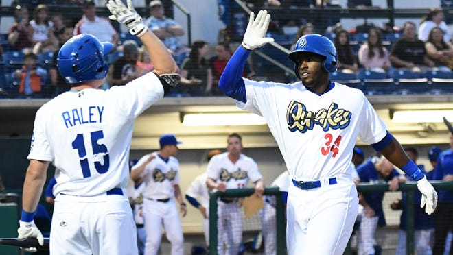 Rancho Cucamonga Quakes first baseman Ibandel Isabel, right, leads the California League in home runs this season with 15. Isabel is a South All-Star.
