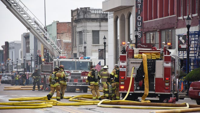 Firefighters from neighboring cities came alongside Denison Fire Rescue to help settle the blaze on Oct. 9, 2019.
