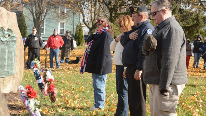 Wreaths are placed at Monument Park in Adrian during a Veterans Day ceremony in 2018. The 2020 Veterans Day ceremony in Adrian will take place at 11 a.m. Wednesday, Nov. 11, at Monument Park.