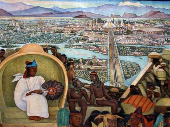 """The Grand Tenochtitlan"" mural by Diego Rivera at the"
