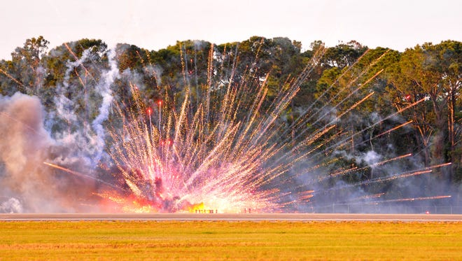 A fire started from the Tora, Tora, Tora bombing run set off the fireworks prematurely.  Scenes from Friday's Space Coast Warbird AirShow  at Space Coast Regional Airport.
