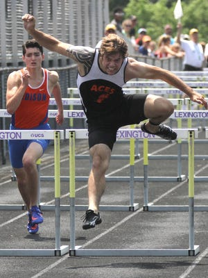Amanda-Clearcreek's Jordan Leasure competes Saturday in the 110 hurdles during the Division II regional meet at Lexington. Leasure placed second to qualify for the state meet.