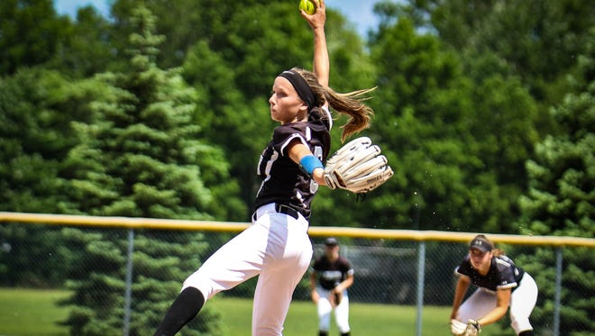 Plymouth senior pitcher Jenny Bressler (6) sends the ball towards the plate against Salem. She threw a no-hitter in the district opener.