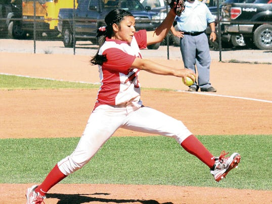 Danny Udero/Sun-News   Cobre's Jayden Placencio struck out 11 of 12 batters she faced against Hatch Valley in the first of a twin bill.