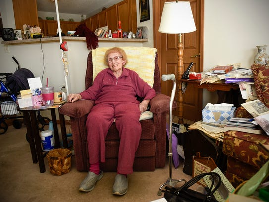 Pernina Burke talks about her recent move from a twelve-bedroom house to an apartment Thursday, March 15, as she turns 100 years old.