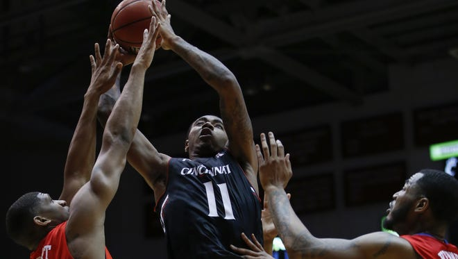 Cincinnati Bearcats forward Gary Clark (11) takes it to the basket in the first half during the NCAA basketball game between the Southern Methodist Mustangs and the Cincinnati Bearcats, Sunday, March 6, 2016, at Fifth Third Arena in Cincinnati.