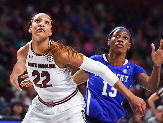 South Carolina forward A'ja Wilson (22) and Kentucky's Jessica Hardin (15) look for a rebound in game 11 of the SEC women's basketball tournament at Bon Secours Wellness Arena on Saturday, March 4, 2017.