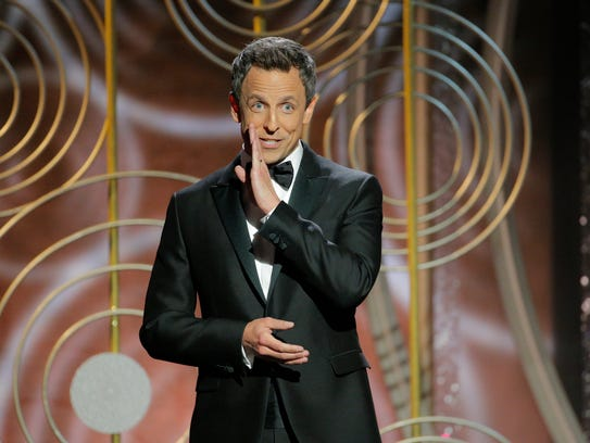 Seth Meyers is host at the 75th Annual Golden Globe