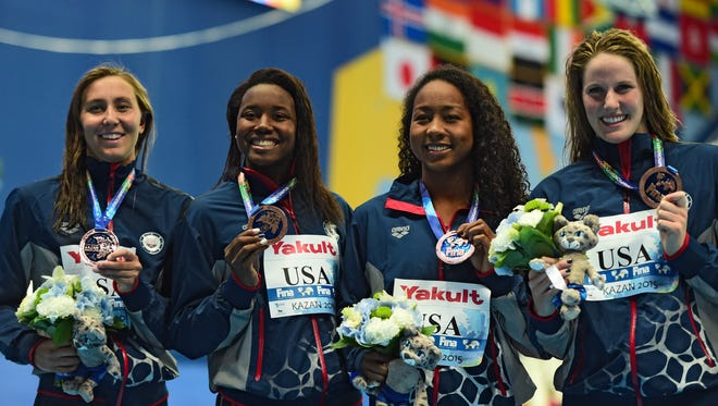 Margo Geer, Simone Manuel, Lia Neal and Missy Franklin, L-R, took a bronze medal for the U.S. in the 400 free relay at the World Swimming Championships.