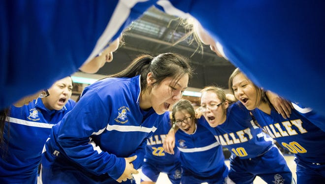 Valley High celebrates its win over Leading Edge Academy in the 2A girls state championship game at the Prescott Valley Event Center in Prescott Valley on Saturday, Feb. 25, 2017.