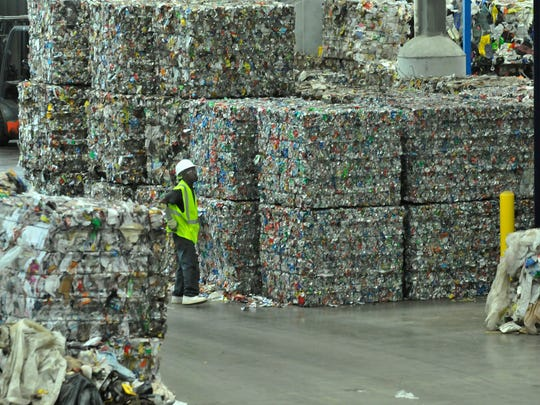 Baled materials at the IREP Materials Recovery Facility on June 11, 2014.