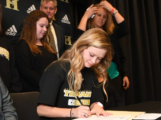 T.L. Hanna senior Brooke Penedo signed to play soccer at Anderson University during a ceremony T.L. Hanna High School in Anderson on Wednesday.