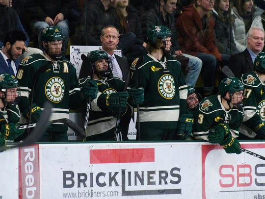 Vermont head coach Kevin Sneddon reacts to a goal during