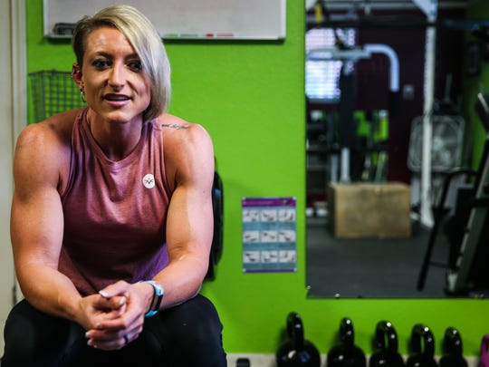 Casi Tribbett talks about training Friday, July 6, 2018, in her gym.