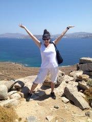 Karen Solomon atop Mt. Delos on Mykonos Island.