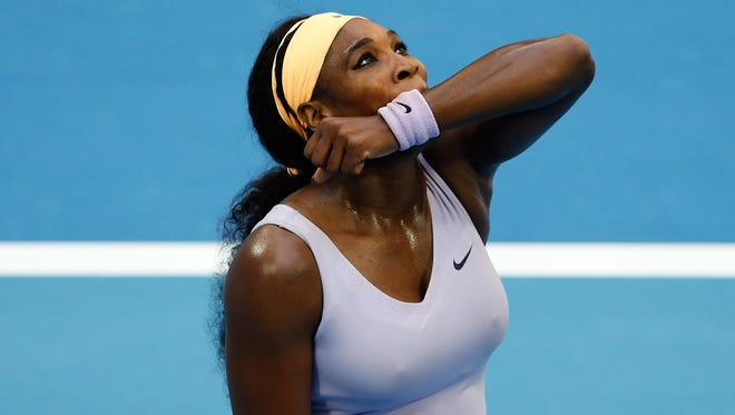Serena Williams of the United States reacts during her women's singles match.
