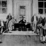 The signing of the Constitution in Independence Hall, Philadelphia, Sept. 17, 1787. From the mural painting by Albert Herter.