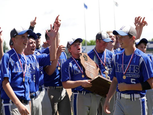 Athens High School's players acknowledge their fans after a 2-0 victory against Independence/Gilmanton High School during their WIAA Division 4 Spring Baseball Tournament final game Thursday, June 15, 2017, at Neuroscience Group Field at Fox Cities Stadium in Grand Chute.