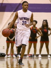 "Haywood's Dedric Boyd (20) missed about a month with knee surgery. ""Fortunate to have three seniors that played a vital role in our state championship,"" Haywood coach Kendall Dancy said. ""We are even more fortunate to have Boyd back."""