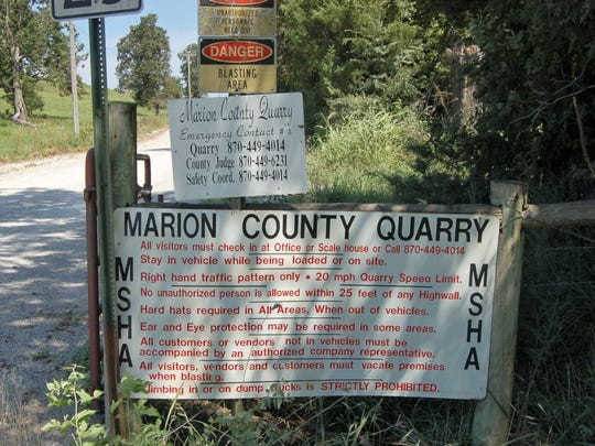 This sign at the entrance to the Marion County rock