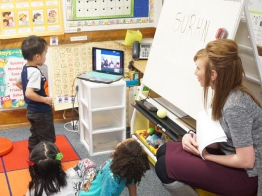 "Ms. Rittenberry's kindergarten class at Grant Elementary School uses Skype  to complete a ""Who Am I?"" activity with a kindergarten class in Arizona."