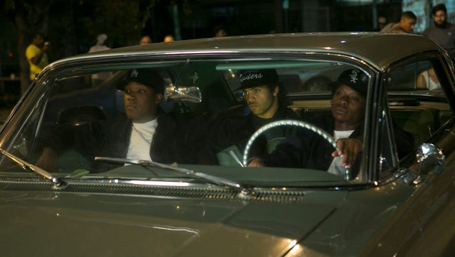 Dr. Dre (Corey Hawkins), Ice Cube (O'Shea Jackson Jr.) and Eazy-E (Jason Mitchell) in 'Straight Outta Compton.'