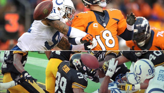 Above, Jonathan Newsome forces a fumble by Broncos quarterback Peyton Manning in last Sunday's game; below, Aaron Bailey tries (unsuccessfully) to pull in a Hail Mary pass against the Steelers in the 1995 AFC Championship game.