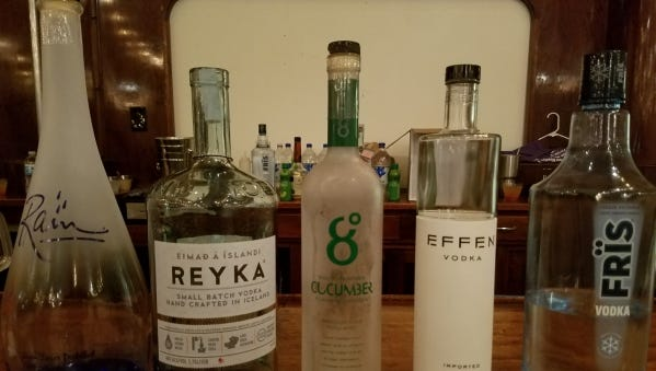 The vodka selection at a recent vodka and food pairing dinner hosted by Ellie's Downtown Deli chef and owner Mark Muller at Ground Floor Farm.