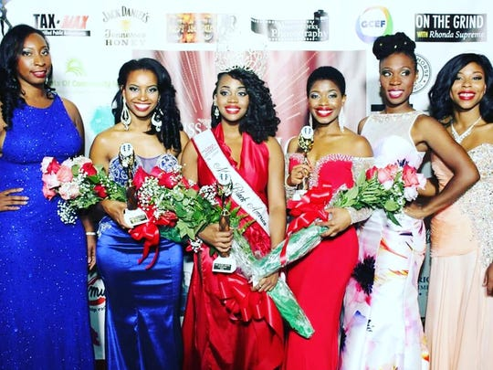 Wilmington's Nicole Lyn (third from left) with fellow finalists at the Miss Black America pageant at Temple University in Philadelphia earlier this month.