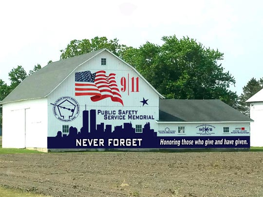 A Gibsonburg barn was recently painted to tie in with the Public Safety Service Memorial dedication.