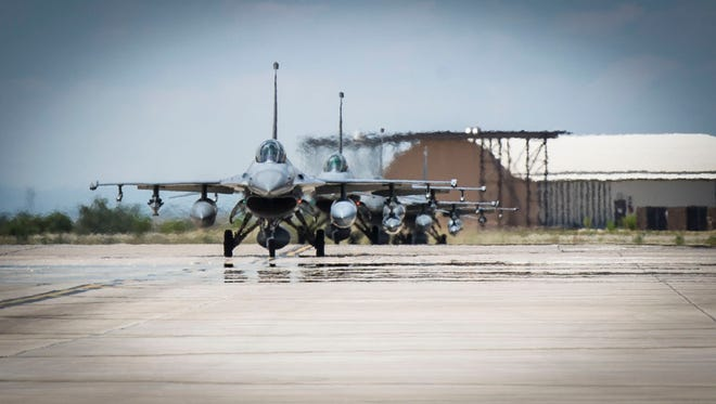 In this file photo, F-16 Fighting Falcons from Luke Air Force Base in Arizona at Holloman Air Force Base.