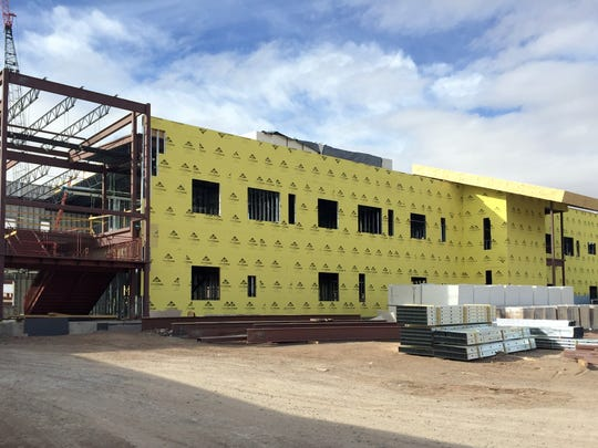 With roofing and walls put in place, construction work for the new Deming High School will move to the interiors during the winter months.