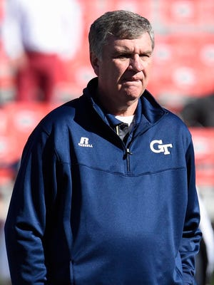 Georgia Tech Yellow Jackets head coach Paul Johnson shown on the field prior to the game against the Georgia Bulldogs  at Sanford Stadium.