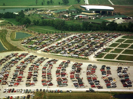 This aerial image shows Klipsch Music Center before a Phish concert in 1998.