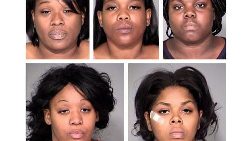Kenya Matthews (clockwise from top left), Latoya McGill, Francheska McGraw, Veronica Perry and Apiphany Porter were arrested in October 2013 by Indianapolis police.