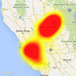 West Coast Internet provider Wave Broadband's service interruption is shown on the map from Downdetector.com.