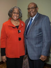 Former Albion resident and Albion College graduate Ruth Holland Scott, shown with her husband, William, returned in January to Albion to talk about Martin Luther King Jr. and the civil rights movement.