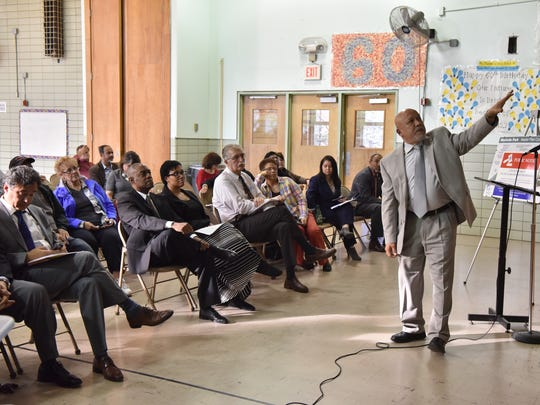 Paterson Mayor Joey Torres speaks at a town hall meeting on Wednesday.