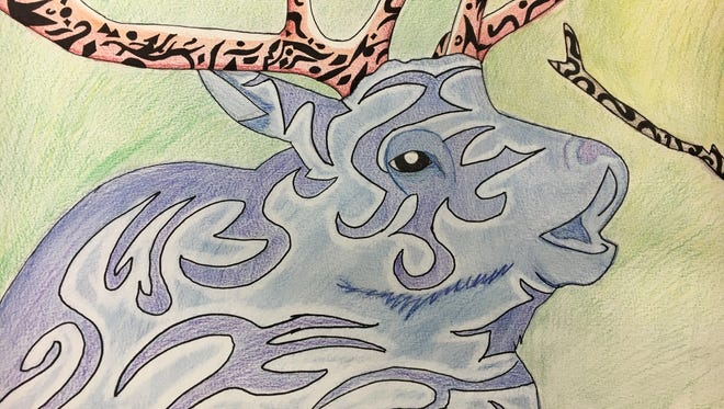 Watercolor, pencil and ink by Emily, a student at Southern Door Middle School.