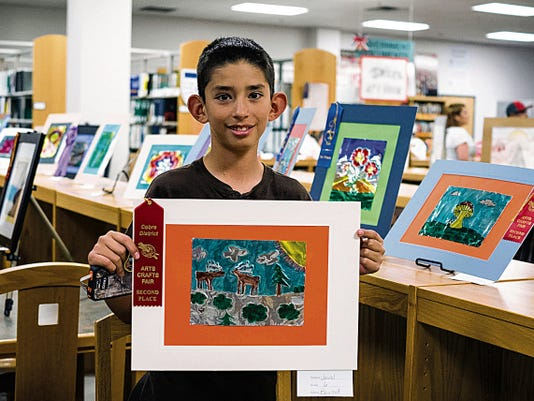 Javiel Garcia, a sixth grader at Bayard Elementary, won second place in a recent art show opening at Miller Library on the Western New Mexico University campus. The university has partnered with students in the Cobre School District, grades K-12, to display art through April 17. Courtesy Photo