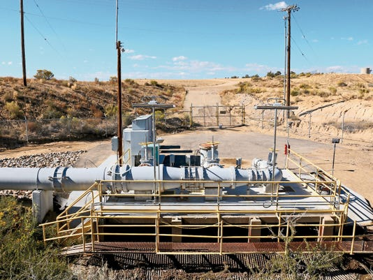 One of the two stations in Farmington where water is pumped from the Animas River into Farmington Lake is pictured Thursday.