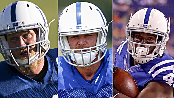 It's a long, tense week for Colts reserves  such as  Konrad Reuland (from left), Chase Coffman and Trey Williams. Williams and Reuland were cut Monday morning.