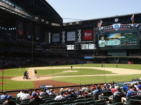 The Arizona Diamondbacks' Chris Herrmann bats against the New York Mets on May 17, 2017, at Chase Field in Phoenix.