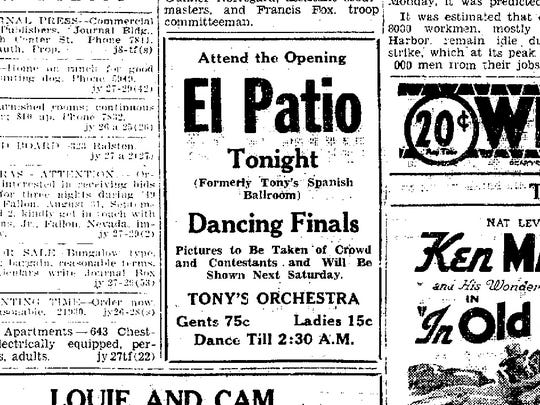 An ad for El Patio in the July 27, 1935 edition of the Nevada State Journal.