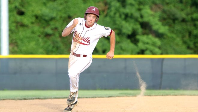 Jared Patterson rounds the bases Thursday night for Asheville Post 70.