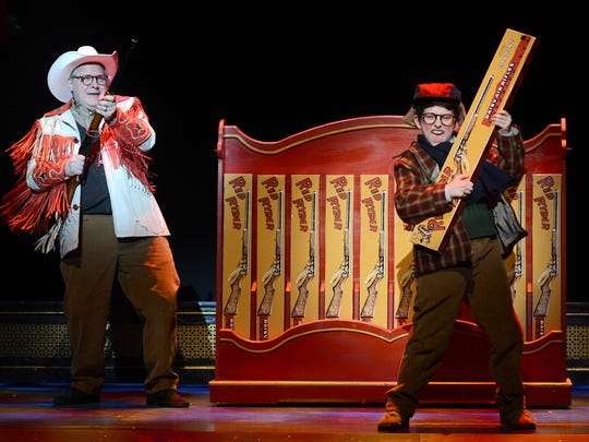 Chris Van Vleet (left) as Jean Shepherd and Colton Maurer as Ralphie in Broadway Across America's 'A Christmas Story: The Musical' at ASU Gammage.