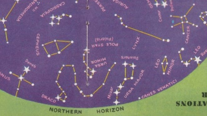 """Catch the stars down low the next January evening, looking northwest to northeast. The """"Northern Cross"""" pattern (Cygnus) is at left; the Big Dipper is balancing on its handle and spring's jewel star, Regulus, is just appearing at right."""