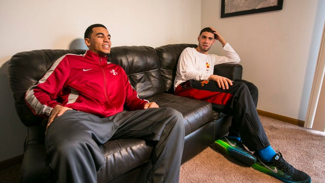 Iowa State basketball stars Naz Long, left, and Georges Niang have been roommates since they arrived on campus. The two are juniors this season.