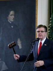 Texas Lt. Gov. Dan Patrick presides over the session in Texas Senate. (AP Photo/Eric Gay)